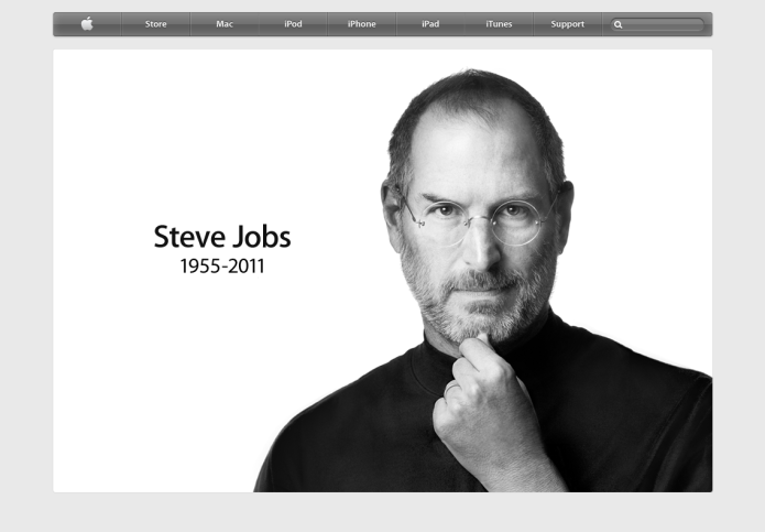 Apple.com landing page with memorial to Steve Jobs (1955-2011)